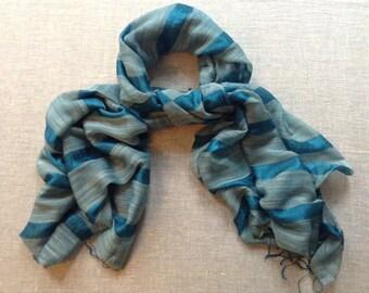 Silk and Linen  Fair Trade Scarf / Shawl / Wrap - Green
