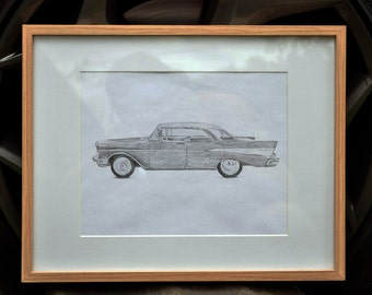 Chevy Bel Air, Hand drawn, grey lead image