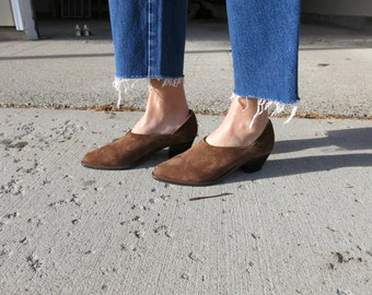 Brown Suede Ankle Boots // Nobuck Low Rise Boots // Western Shoe Boots // Booties