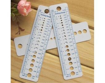 Knitting Needle Gauge Sewing Ruler Tool  Inch cm US UK Canada Sizes 2-10mm 1 PCS