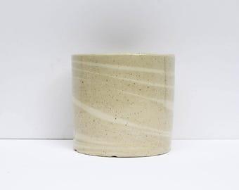 Beige + White Swirl Pot