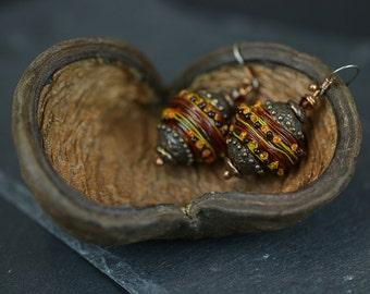 Earring beads Brown