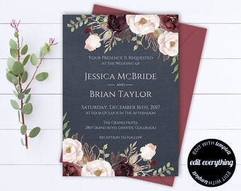 Floral Wedding Invitation Printable Wedding Invitations Printable Invitation Suite Floral Invitation Set Floral Invitation Template
