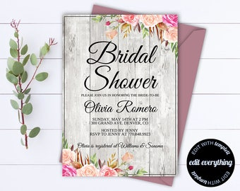 Rustic Bridal Shower Invitation Template - Bridal Shower Invite - Floral Bridal Shower Printable Invitation - Rustic wedding shower invite