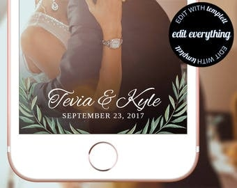 Wedding Snapchat Geofilter - Custom Geofilter - Leaves Snapchat Filter - Wedding Geofilter - Custom Snapchat Geofilter - Snapchat Wedding