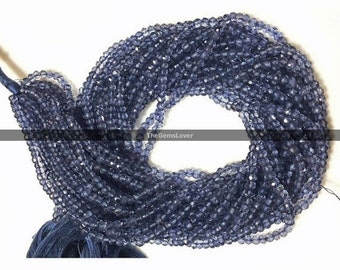 13 Inch Iolite Faceted Beads AAA+ Quality Natural Iolite Faceted Rondelle Beads Stone Size 3.5mm to 4mm Iolite Rondelle, Blue Beads