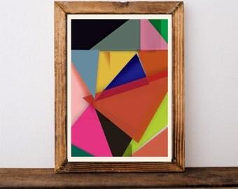 Geometric art print, Abstract art, Minimalist print,Modern print, , Triangles print, Geometric print, Wall art print