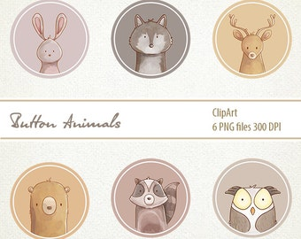 animal buttons, bunny, rabbit, deer, commercial use OK