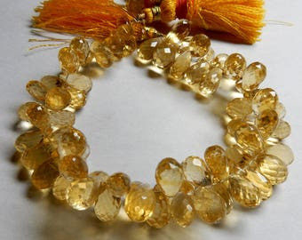 "Amazing Quality Natural Citrine Faceted Tear Drops Briolette Beads 11-9 MM Size High Quality 8""inch long Strand High Quality IN14"