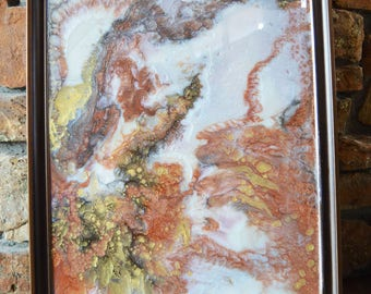 """Copper and Gold Marbled Abstract Resin Art - Large Wall Decor within Frame - Beautiful 3D Design Ready to Hang 28"""" x 22"""""""