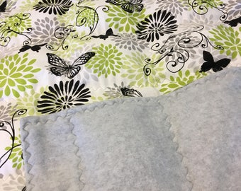Weighted Blanket Adult/ Butterfly Weighted Blanket/ Gray Fleece backing/ Adult Weighted Blanket/ Butterfly lovers Weighted Blanket