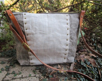 Medium Waxed Linen and Canvas Bag, Cross-body Bag, Waxed canvas bag, Hand Waxed Purse, Handmade Bag, Individually Made, One-of-a-kind bag