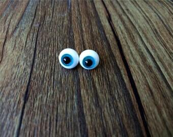 1 Pair BJD Eyes 8mm, Handmade Glass Doll Eyes, Aquamarine Shining Iris with 2mm Black Pupil Doll Glass Eyes for BJD Accessories