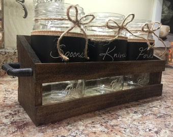 Farmhouse Dining Glass Mason Jar Silverware Holder With Wooden Crate