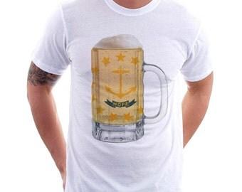 Rhode Island State Flag Beer Mug Tee, Unisex, Home Tee, State Pride, State Fla, Beer Tee, Beer T-Shirt, Beer Thinkers, Beer Lovers Tee