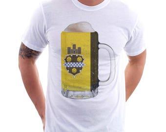 Pittsburgh City Flag Beer Mug Tee, Unisex, Home Tee, City Pride, City Flag, Beer Tee, Beer T-Shirt, Beer Thinkers, Beer Lovers Tee