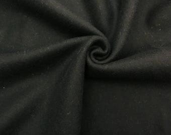 Jet Black Italian Fine Heavy Weight Wool Fabric