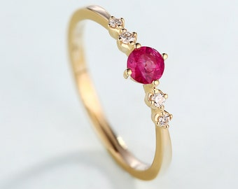 Birthstone Promise Antique Engagement Ring 14K Gold Red Gemstone Wedding Women Five Stone Ruby Diamond Dainty Delicate Anniversary Gifts
