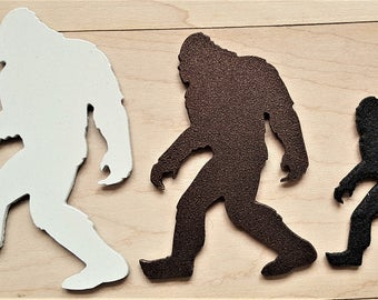 Magnetic Bigfoot Big foot Sasquatch art Yeti Family sign metal office hunting kids silhouette indoor outdoor decor sign Magnet refrigerator