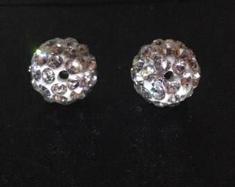 Rhinestone Crystal Clay Disco Ball Beads 8mm -100 beads