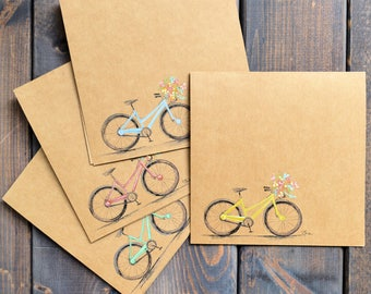 Spring Bicycle | Card Set (of 4) - Hand Painted