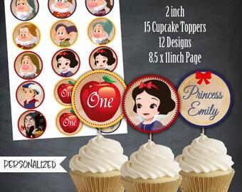Snow White Cupcake Toppers, Snow White Tags, Birthday Favors, Snow White Party, Birthday Favors, Personalized, Printables, Digital,DIY