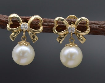 JM167 14K Solid Yellow Gold 13mm Bow/Pearl White Cubic Zirconia Drop Earrings