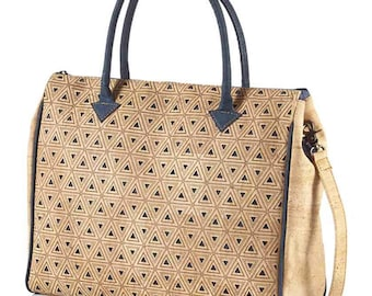 Cork Purse, Eco-Friendly Vegan Handbag Agra Tote Bag in Blue by Eve Cork