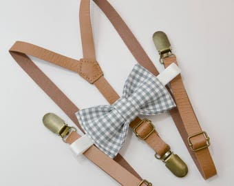 Bow Tie Suspenders SET / Gray Gingham Plaid Bow Tie & Light Brown Faux Leather Suspenders brass  / Kids Mens Baby Wedding Set 6mo - Adult