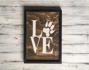 Rustic dog decor / Rustic dog sign / Dog paw sign / Rustic dog wall sign / Dog decor paw sign / Wooden dog love sign / Wooden dog paw sign