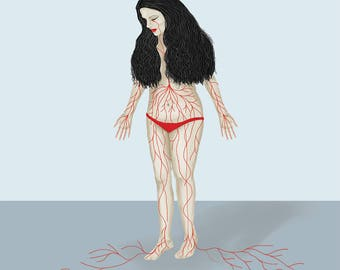 Bleeding woman - Art print, digital art