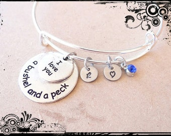 I Love you a Bushel and a Peck Bracelet/Keychain, I love you, Bushel and a peck, custom bracelet, Valentines Day, bangle bracelet