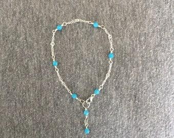 Turquoise Swarovski Crystal & Chain Sterling Silver Bracelet