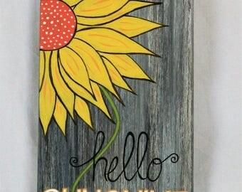 Hello Sunshine Wood Sign, Home Decor, Spring Decor, Summer Decor, Porch Decor, Yard Art