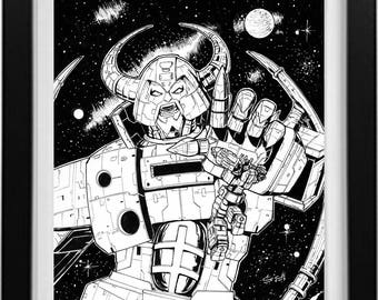 Transformers The Movie G1 ink drawing of UNICRON