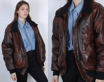 Vintage Brown Leather Jacket // 80s Bomber Coat Faux Fur Lining Mens Womens - Medium to Large