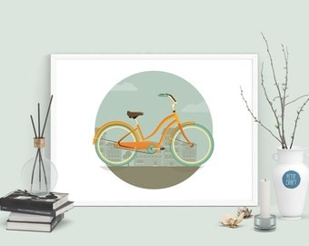 Enjoy the Ride, Flat Design Wall Art, Digital Download