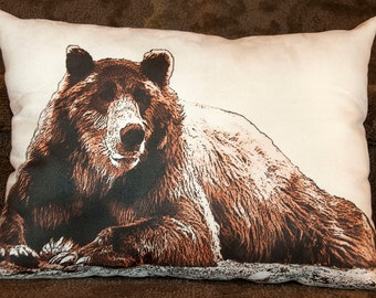 bear pillow, cabin decor, lodge decor, grizzly bear, grizzly pillow, bear photography
