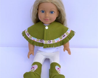 "Made to fit American Girl and 18"" Type Dolls Poncho and Boots Set"