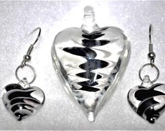 Murano Glass Heart Jewelry Set - Murano Jewelry - Murano Earrings - Glass Pendant -  Heart Earrings - Heart Pendant - Womens jewelry