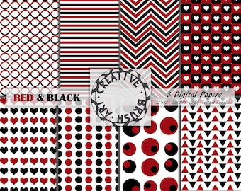 Digital paper red and black