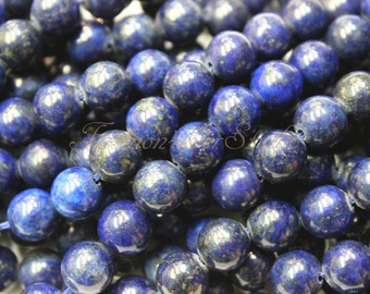 Lapis Lazuli Beads,4mm 6mm 8mm 10mm, Full Strand 15.5 inches, Gemstone Beads, Beading Suppliers, Jewelry Suppliers