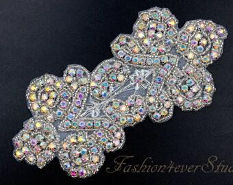 Crystal AB Rhinestone Applique, Bridal Sash Applique, Wedding Belt Applique, Crystal Beaded Applique, Bridal Accessories