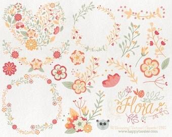 Flowers Clipart Flora 02 Vector Graphics, Flower Clipart, Floral Clipart, PNG, Clip Art, Yellow, Peach, Coral