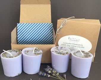 Lavender Vanilla or Lavender Chamomile Soy Votive Candle 4 Pack