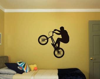 Wall Decal Sticker Bedroom bmx bicycle bike jump Kids Girls Boys Teenager Room bo2886