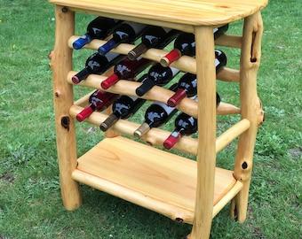 Wine Table, Wine Rack, Rustic Wine Table,
