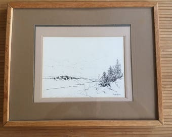 Original vintage 1979 pen and ink drawing, Sola Norway, countryside scene, by artist Mary Donaldson, framed and matted.