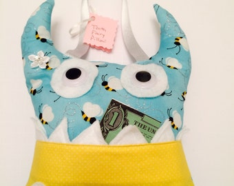 Monster Tooth Fairy Pillow Girl - 713 Aqua Bumble Bee Glittery With Yellow and Googly Eyes