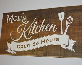Momu0027s Kitchen Rustic Painted Wood Sign Kitchen Sign Country Kitchen Sign  Farmhouse Kitchen Sign Barnboard Kitchen